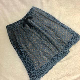マリリンムーン(MARILYN MOON)のマリリンムーン ブルーレーススカート ウエストゴム 中古美品(ひざ丈スカート)