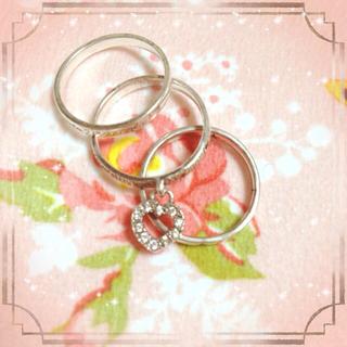 3連シルバーリング♡ジルコニアハート(リング(指輪))