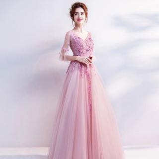 綺麗な花嫁 優雅 透け感 レースドレス 発表会、司会者 パーテイードレス