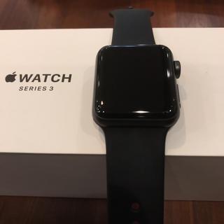 アップルウォッチ(Apple Watch)の(美品)Apple Watch series3 38mm GPS スペースグレイ(腕時計(デジタル))