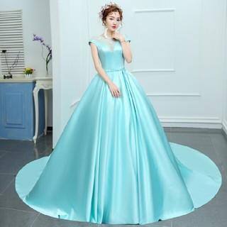 ウェディングドレス☆カラードレス☆水色サテンしっとりプリンセスドレス97
