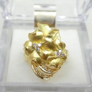 K18 大きいサイズ 17号 ダイヤモンドリング 0.15ct  (リング(指輪))