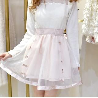 リズリサ(LIZ LISA)のオーガンジーリボンスカート(ひざ丈スカート)