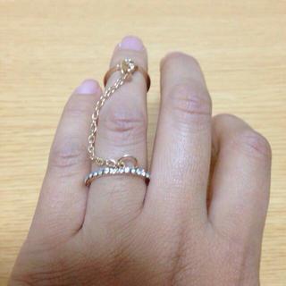 送料無料 新品 2連 チェーン リング(リング(指輪))