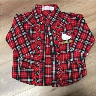 ハローキティ(ハローキティ)のハローキティチェックシャツ☆90センチ(カーディガン)