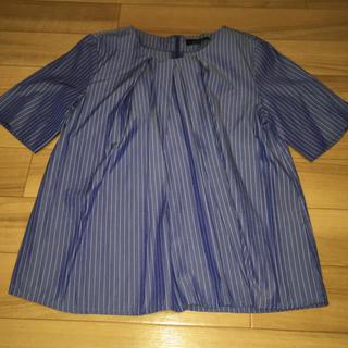 青 ストライプシャツ