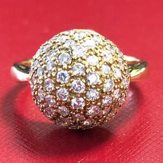 K18 18金 球 丸 ダイヤモンド リング 指輪(リング(指輪))