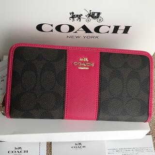 コーチ(COACH)のコーチ 長財布 coach  ラウンドファスナー ローズピンク xブラウン(財布)