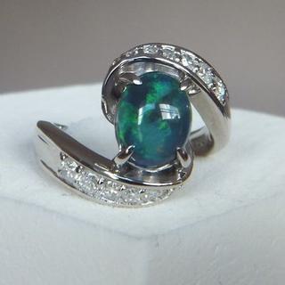 天然ブラックオパール プラチナダイヤモンドリング #9 pt900(リング(指輪))
