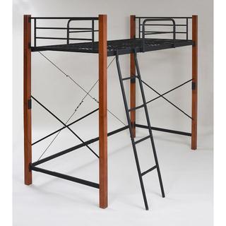木製 頑丈ロフトベッド シングル ブラック×ブラウン(ロフトベッド/システムベッド)