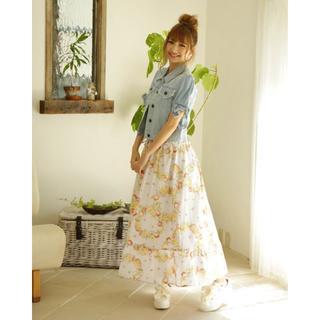 リズリサ(LIZ LISA)の新品 LIZ LISA リズリサ フルーツリース柄ロングスカート ホワイト(ロングスカート)