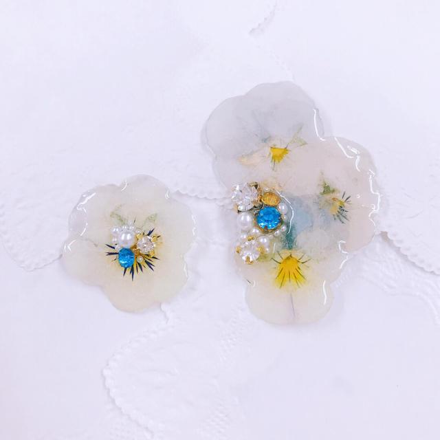淡いビオライヤーカフセット ハンドメイドのアクセサリー(イヤリング)の商品写真