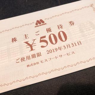 モスバーガー(モスバーガー)のモスフード 8000円分 株主優待券 クイックポスト発送(レストラン/食事券)