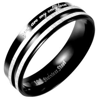 【19号】ライン入りステンレスブラックリング メンズ 指輪 アクセサリー(リング(指輪))