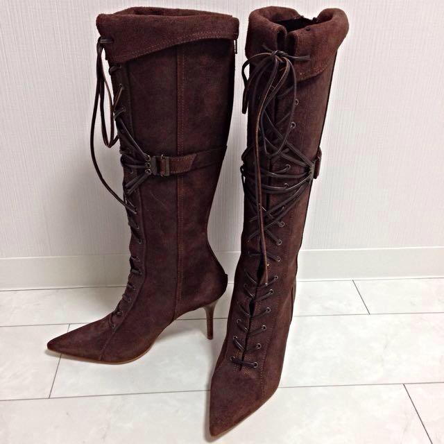 DIANA(ダイアナ)の美脚ピンヒールロングブーツ ブラウン レディースの靴/シューズ(ブーツ)の商品写真