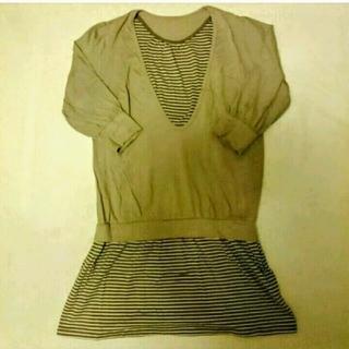 ムジルシリョウヒン(MUJI (無印良品))の美品です✳重ね着風 7部袖 授乳チュニック(マタニティウェア)