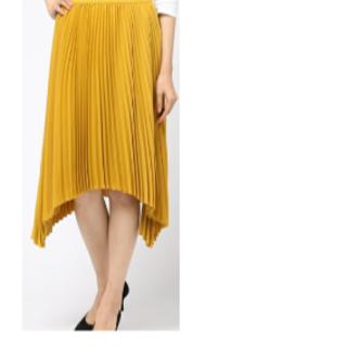 ルシェルブルー(LE CIEL BLEU)のルシェルブルー ★ハンカチーフヘムプリーツスカート★黄色(ひざ丈スカート)