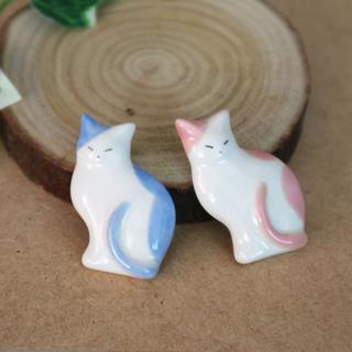 薄型猫の箸置き ピンク×ブルー 半磁器 ハンドメイド (カトラリー/箸)