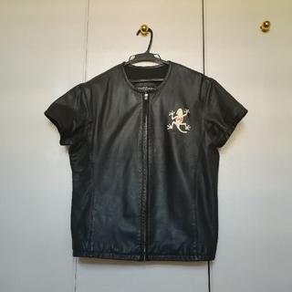 YELLOW CORN 半袖ノーカラージャケット(皮)