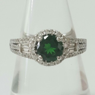 天然グリーンガーネットとダイヤモンドのリング(リング(指輪))