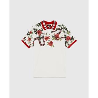 ザラ(ZARA)の新品 ZARA スネーク 薔薇 ビッグシルエット ポロシャツ ホワイト 白 メン(ポロシャツ)