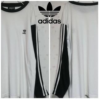 アディダス(adidas)の古着 90s 激レア adidas アディダス 三本ライン Tシャツ ロンT(Tシャツ/カットソー(七分/長袖))