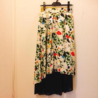アッシュペーフランス(H.P.FRANCE)の花柄アシンメトリースカート(ロングスカート)