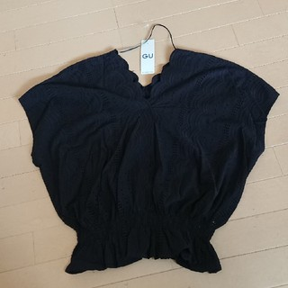 ジーユー(GU)のGU スカラップレース  Vネックブラウス XL(シャツ/ブラウス(半袖/袖なし))