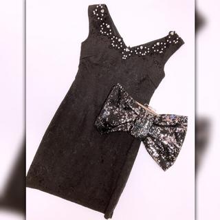 デイジーストア(dazzy store)の美品⚜️Dazzy ブラック オフショル可 ドレス 結婚式 キャバ デート(ミディアムドレス)