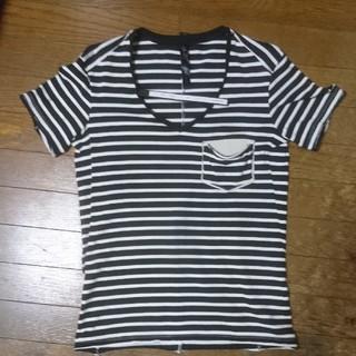 ダブルジェーケー(wjk)の試着のみ wjk 白×黒 レザー ボーダー junhashimoto AKM  (Tシャツ/カットソー(半袖/袖なし))