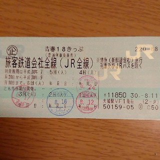 ジェイアール(JR)の18きっぷ 一回 返却不要(鉄道乗車券)