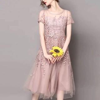 チュール 刺繍結婚式パーティードレス ワンピース(その他ドレス)