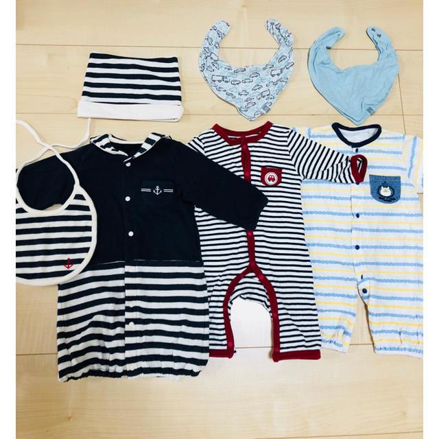 51712227c801f 新生児 ロンパース カバーオール 男の子 まとめ売り 50 60 キッズ ベビー マタニティのベビー服(
