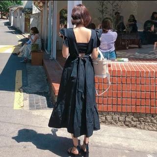 再入荷♥バックスタイルが可愛い♡背中あき ロングワンピース リゾート ブラック(ロングワンピース/マキシワンピース)