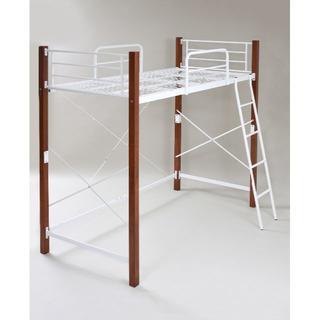 木製 頑丈ロフトベッド シングル ホワイト×ブラウン(ロフトベッド/システムベッド)