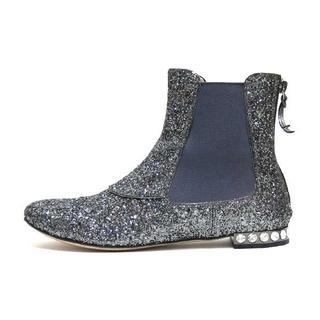 ミュウミュウ(miumiu)のmiumiu ビジューヒールバックジップ グリッターサイドゴア ショートブーツ(ブーツ)