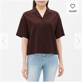 ジーユー(GU)の≪GU≫リネンオープンカラーシャツ(シャツ/ブラウス(半袖/袖なし))