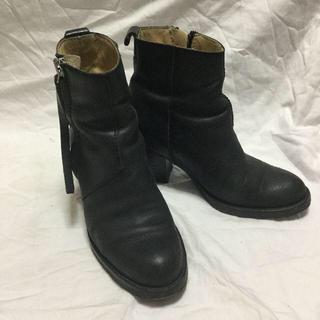 アクネ(ACNE)のアクネ ブーツ ショート ブーティー サイドジップ 黒 ブラック イタリア製(ブーツ)