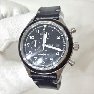 フォッシル(FOSSIL)の良品 フォッシル コンパスクロノグラフ腕時計 蓄光針 しっとりカーフレザー(腕時計(アナログ))