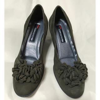 新品大きなサイズ  モスグリーンソフト革靴  25.5cm(ハイヒール/パンプス)