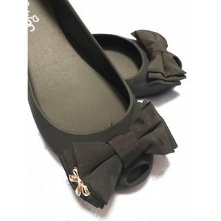 リボン付き♥レインパンプス (ブラック)(長靴/レインシューズ)