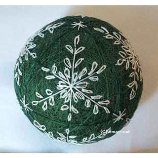 てまり「雪の結晶」緑地、白 手まり 手毬 手鞠(その他)