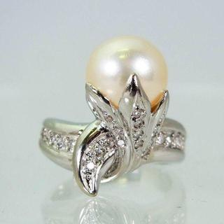 Pt900 天然アコヤ本真珠ダイヤモンド リング 9号[f227-6](リング(指輪))