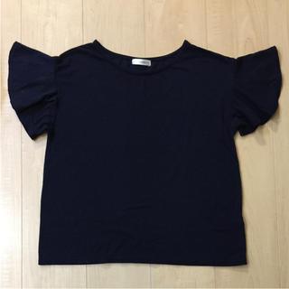 アーヴェヴェ(a.v.v)のa.v.v standard フレア袖 半袖 ネイビー レディース S(カットソー(半袖/袖なし))