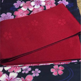 浴衣帯 赤No.152【新品未使用】落ち着いた赤半幅帯 袴帯にも2(浴衣帯)