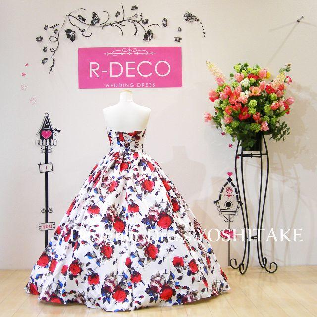 ウエディングドレス(パニエ無料) 白ベース花柄ドレス 披露宴/二次会 レディースのフォーマル/ドレス(ウェディングドレス)の商品写真