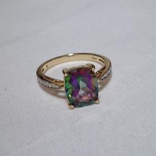 値下げ!ミスティックトパーズ ダイヤモンド K14リング(リング(指輪))