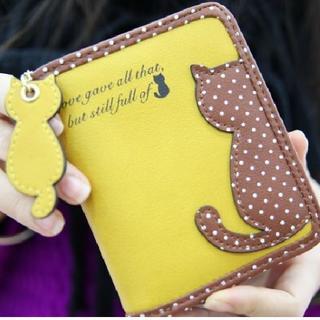 二つ折り財布 ネコのアクセント (黄色)(財布)