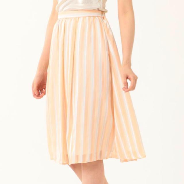 Stola.(ストラ)の[美人百花掲載]サテンストライププリントスカート レディースのスカート(ひざ丈スカート)の商品写真