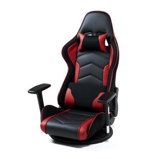 ゲーミング座椅子(肘付き・レバー式・360度回転・ブラック/レッド)(ハイバックチェア)